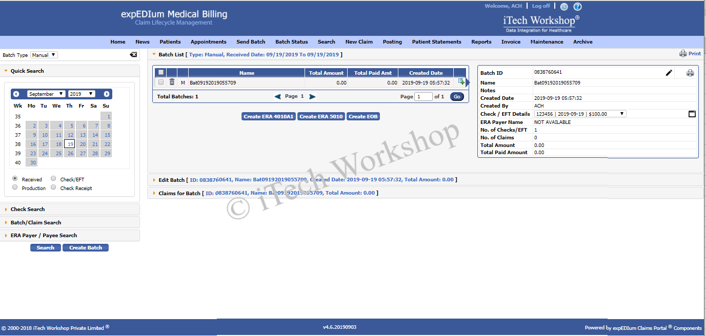 expedium Medical Billing- Manual Posting Batch List