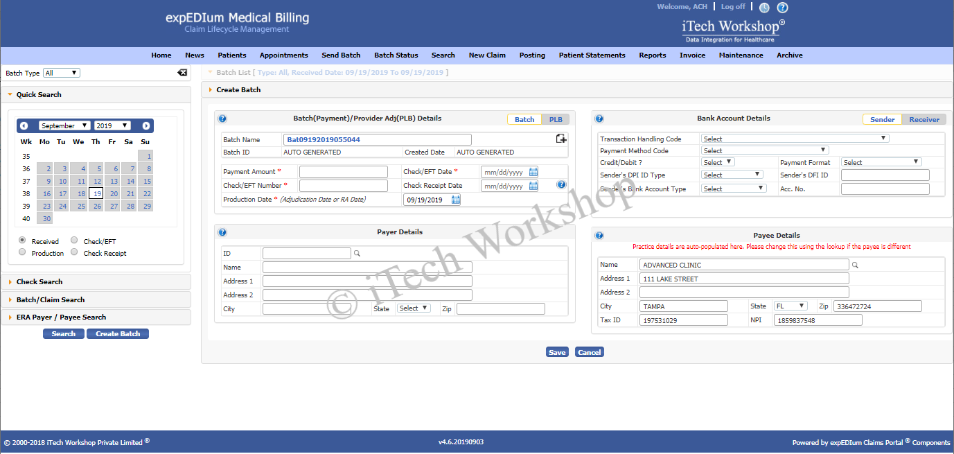 expedium Medical Billing- ManualPosting Add NewBatch